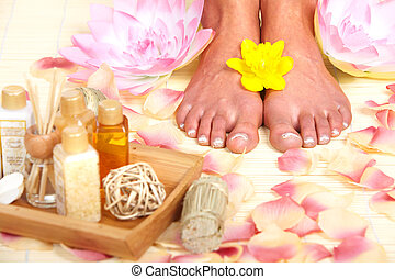 Foot massage. - Foot massage in Spa massage salon. Relax.