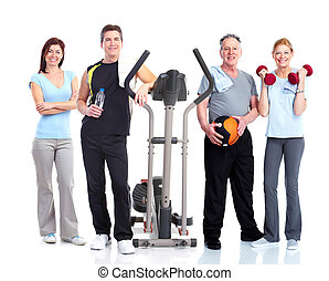 Healthy people group Gym and fitness Isolated over white...