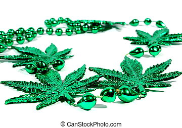 Marijuana Mardi Gras Beads - Isolated marijuana necklace...