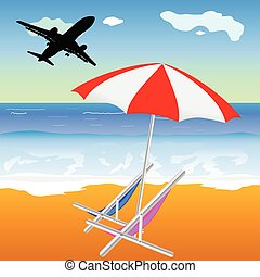 beach illustration with umbrella and chair and plane