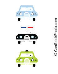 taxi, ciudad, estilo, policía, Ilustración, colorido,  civil, coches, aislado, Ilustración, Plano de fondo,  vector, coche, frente, taxi, blanco, caricatura,  simple, vista