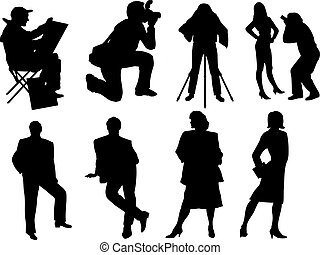 vector silhouette of photographers and models