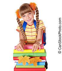 Girl holding pile of books.