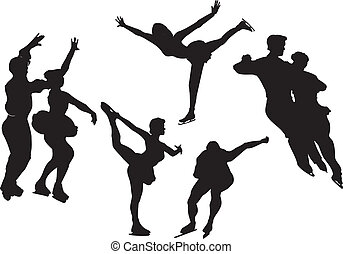 Figure skating silhouettes, vector
