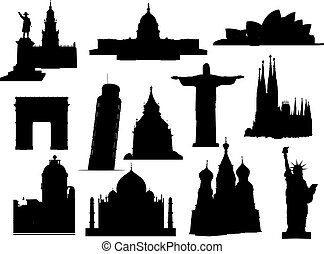 landmarks silhouette set. Vector illustration.