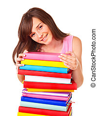 Girl with pile color book .