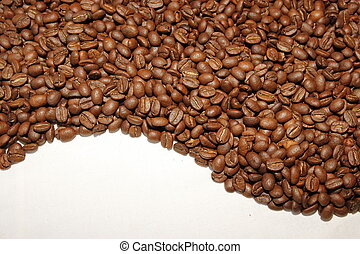 curved coffee beans on the white background