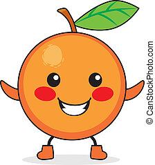 Orange Fruit Cartoon - Cute orange fruit cartoon character...