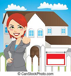 Real Estate Woman - Real estate woman holding the key of a...