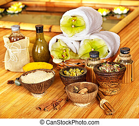 Spa still life with towel - Spa still life with towel and...