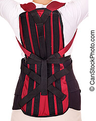 Trauma of back. Corset for posture. Isolated.