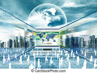 E business Concept - Illustration of virtual businessman...