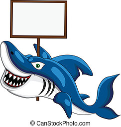 Shark with blank sign - vector illustration of Shark with...