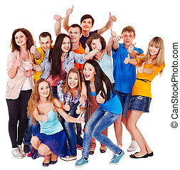 Group people isolated - Group people isolated thumb up