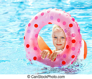 Kid sitting on inflatable ring.
