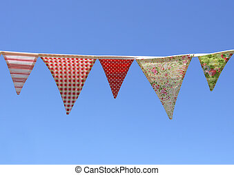 Country Bunting on blue sky