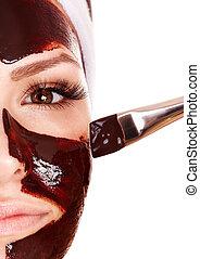 menina, tendo, chocolate, facial, máscara