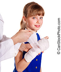 Child with broken arm - Little girl with broken arm.