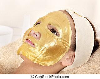 niña, oro, facial, máscara