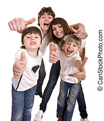 Happy family throw out thumbIsolated