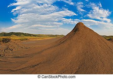 Mud Volcanoes in Buzau, Romania - Mud Volcanoes and a sky...