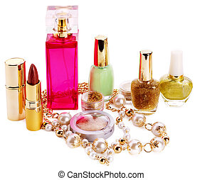 Decorative cosmetics and perfume. Isolated.