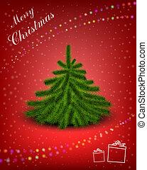 Christmas card - Little fluffy Christmas tree on snowy...