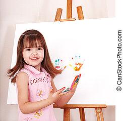 作成, ペンキ,  Handprints, 子供