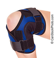 Trauma of knee in brace.