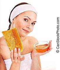 Natural homemade organic facial masks of honey Isolated