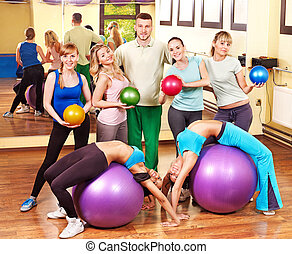 Group people in aerobics class. - Happy group people in...