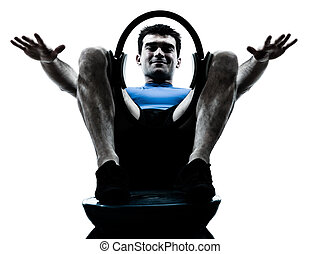 man exercising bosu pilates ring workout fitness posture -...