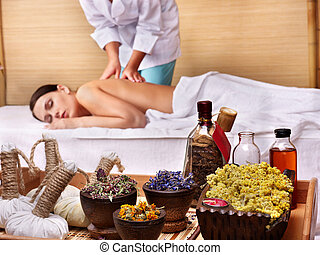 Young woman on massage table in beauty spa. Series. - Young...