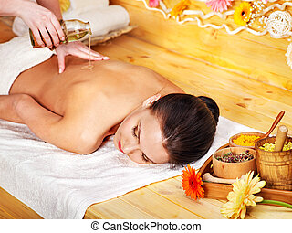 Woman getting massage . - White woman getting massage in...
