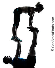 man woman exercising acrobatic workout fitness - one...