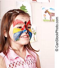 Elaboración, niño, Pintura, cara