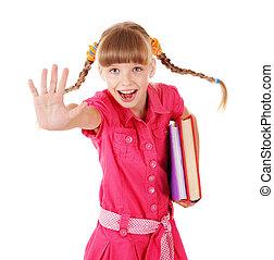 Schoolgirl  holding pile of books.