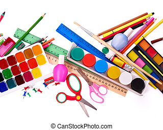 Background of school supplies. - Background of group art...