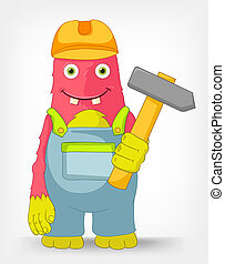 Funny Monster Contractor - Cartoon Character Funny Monster...
