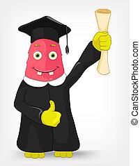 Funny Monster. Student. - Cartoon Character Funny Monster...
