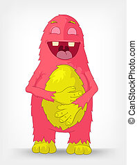 Funny Monster. Laughing. - Cartoon Character Funny Monster...