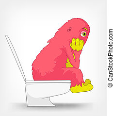 Funny Monster WC - Cartoon Character Funny Monster Isolated...