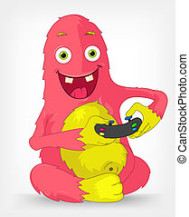 Funny Monster Gamer - Cartoon Character Funny Monster...