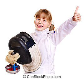 Child in fencing costume holding epee . - Child in fencing...