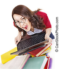 Girl with stack color book and laptop Isolated