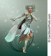 Snowflake Pixie - a graceful fairy with white dress and cape