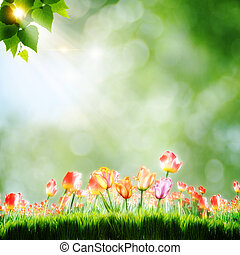 Abstract natural backgrounds with tulip flowers