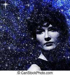 Star dust Abstract female portrait