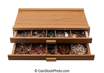 wooden box with jewelry - wooden box with boxes full of...