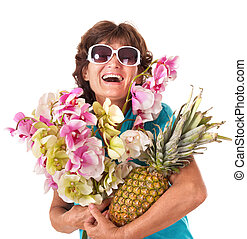 Senior woman holding bunch of flowers Isolated